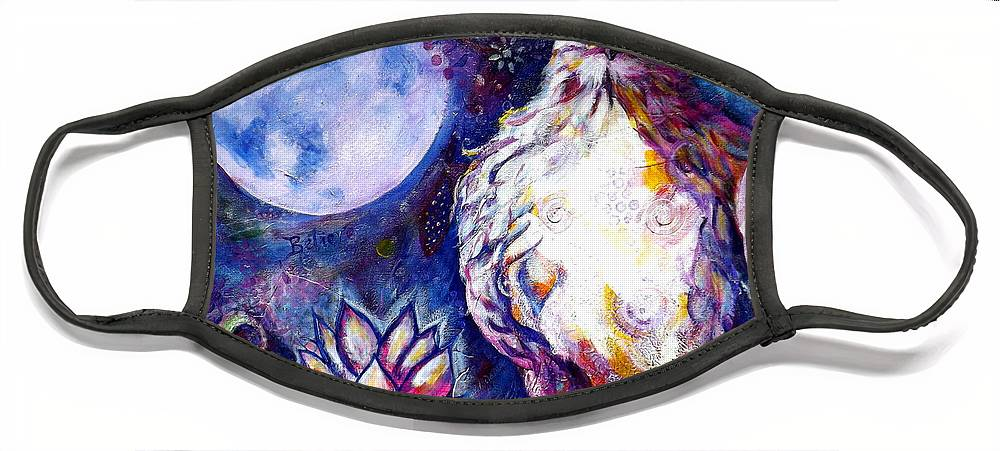 Goddess Face Mask featuring the painting Goddes Hawk by Goddess Rockstar