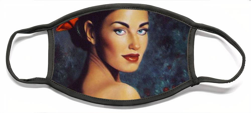 Woman Face Mask featuring the painting Goddess of the Summer Rose by Stephen Lucas