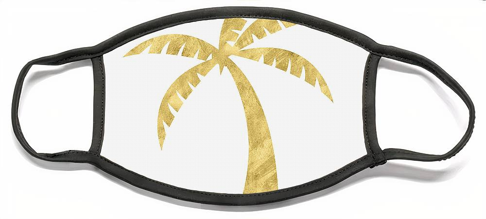 Palm Tree Face Mask featuring the mixed media Gold Palm Tree- Art by Linda Woods by Linda Woods