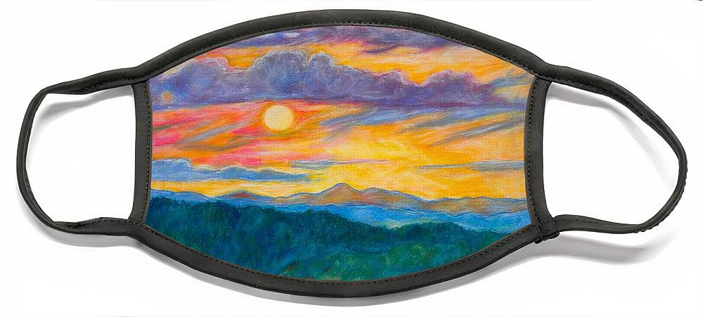 Landscape Face Mask featuring the painting Golden Blue Ridge Sunset by Kendall Kessler