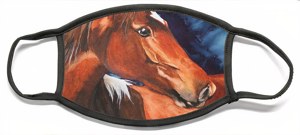 Horse Face Mask featuring the painting Golden Boy by Jean Blackmer