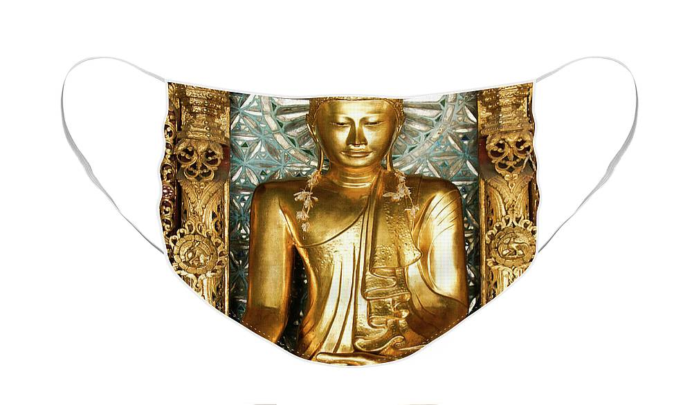 Asia Face Mask featuring the photograph Golden Buddha by Michele Burgess