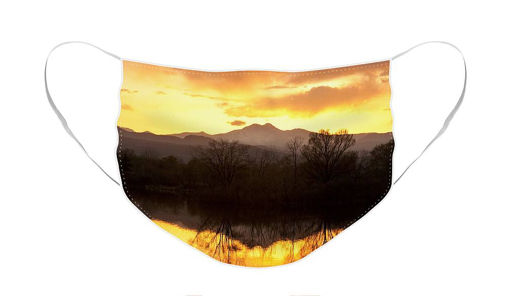Longs Peak Face Mask featuring the photograph Golden Ponds Longmont Colorado by James BO Insogna