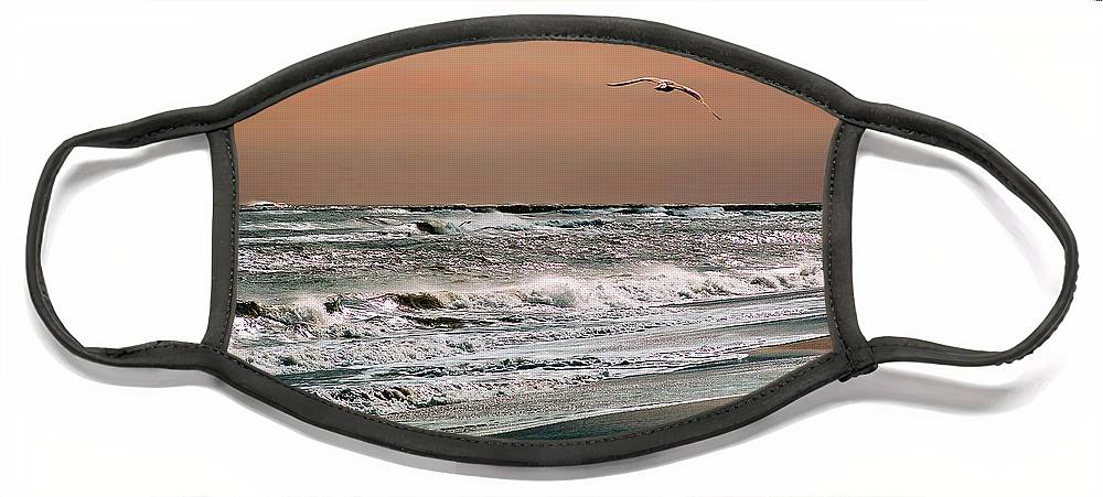 Seascape Face Mask featuring the photograph Golden Shore by Steve Karol
