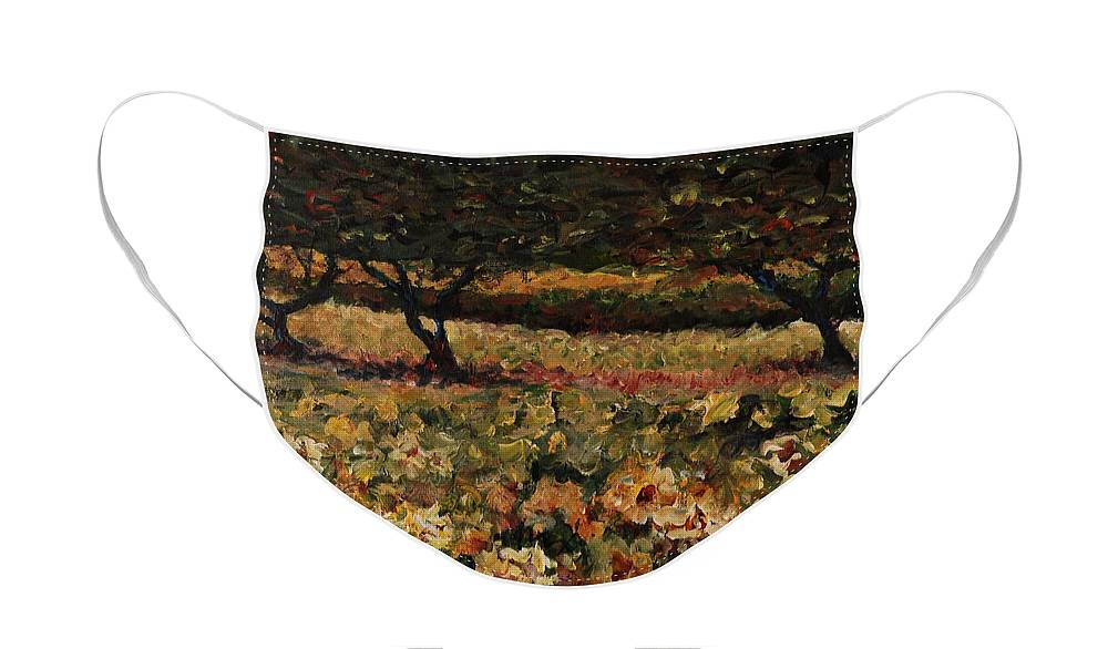 Landscape Face Mask featuring the painting Golden Sunflowers by Nadine Rippelmeyer
