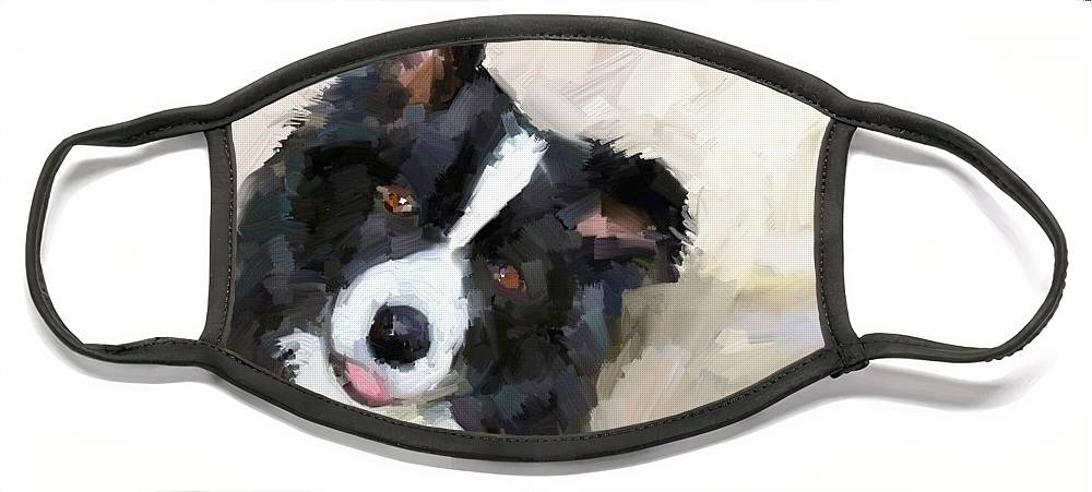 Border Collie Dog Sheepdog Face Mask featuring the digital art Got any sheep? by Scott Waters