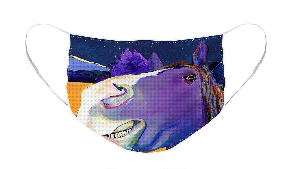 Barnyard Animal Face Mask featuring the painting Got Oats   by Pat Saunders-White