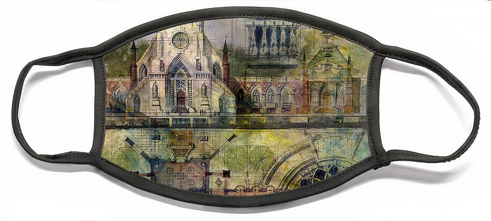Gothic Face Mask featuring the painting Gothic by Andrew King