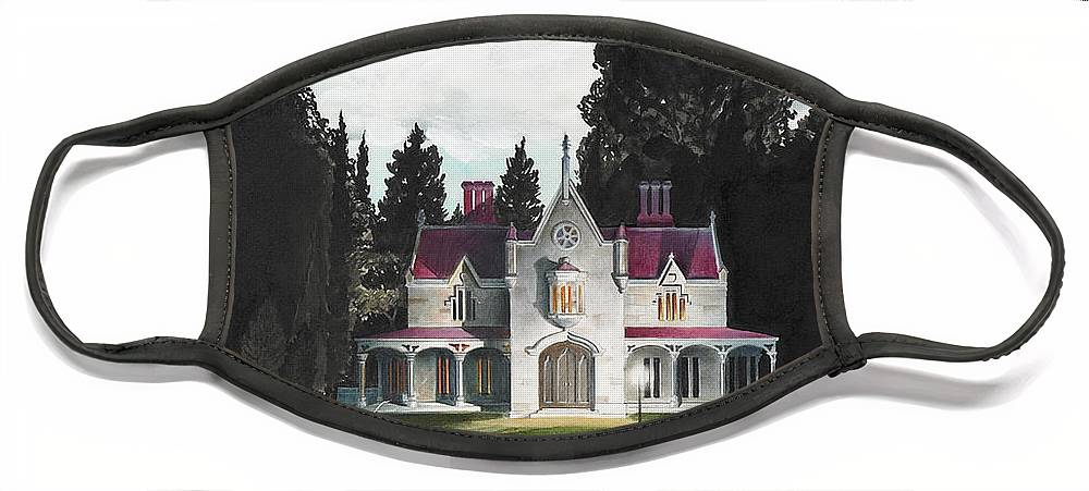 Fantasy Face Mask featuring the painting Gothic Country House detail from Night Bridge by Melissa A Benson
