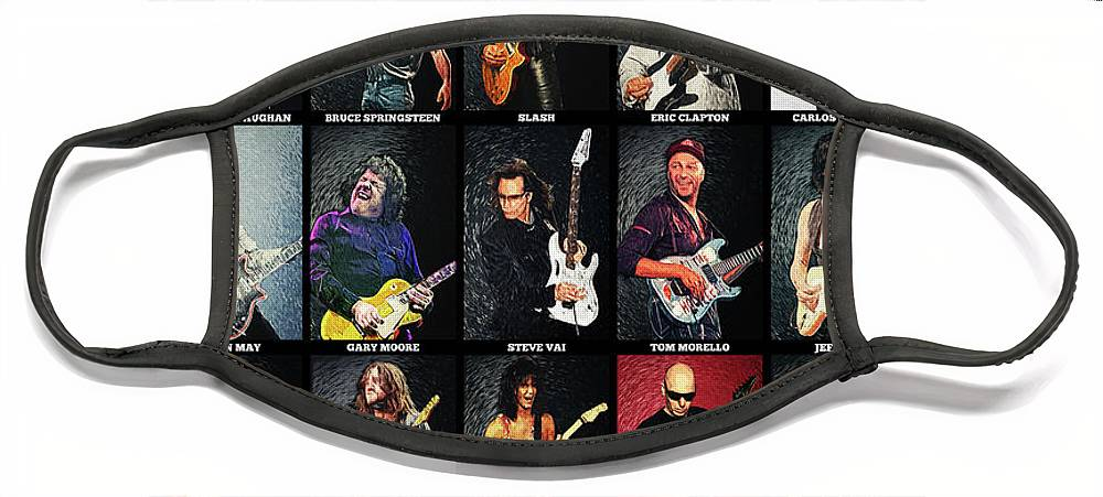 Guitar Face Mask featuring the digital art Greatest Guitarists Of All Time by Zapista OU