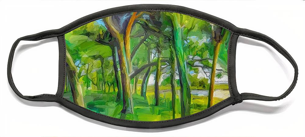 Green Shore Trees Landscape Florida Trees Face Mask featuring the digital art Green Shore Trees by Scott Waters