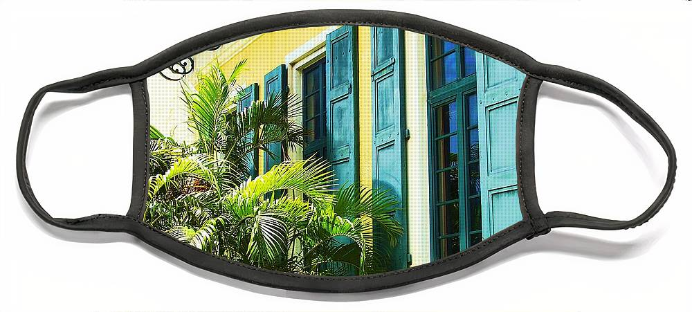 Architecture Face Mask featuring the photograph Green Shutters by Debbi Granruth