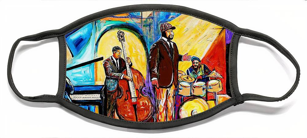 Birmingham Face Mask featuring the painting The Gregory Porter Band by Everett Spruill