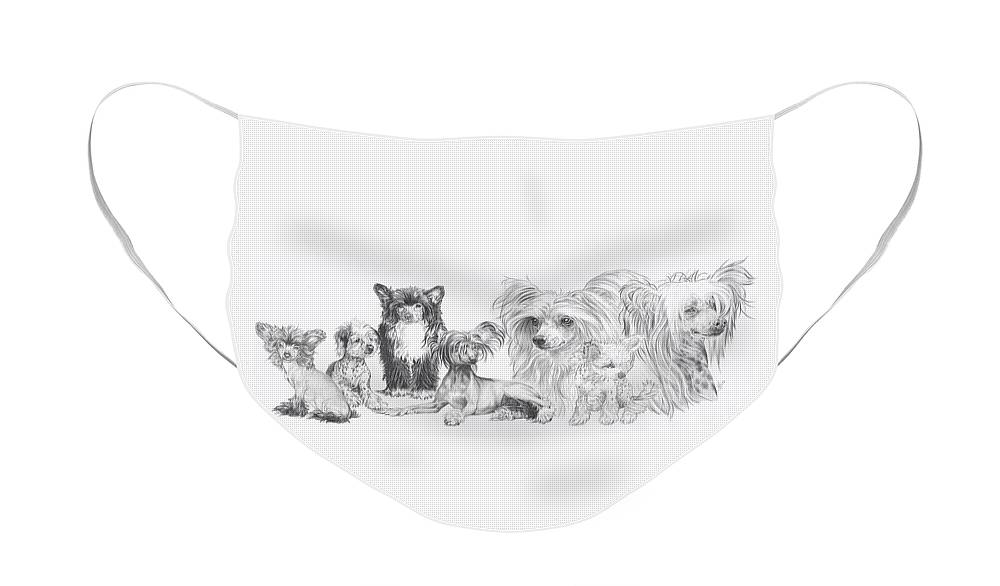Toy Group Face Mask featuring the drawing The Chinese Crested and Powderpuff by Barbara Keith