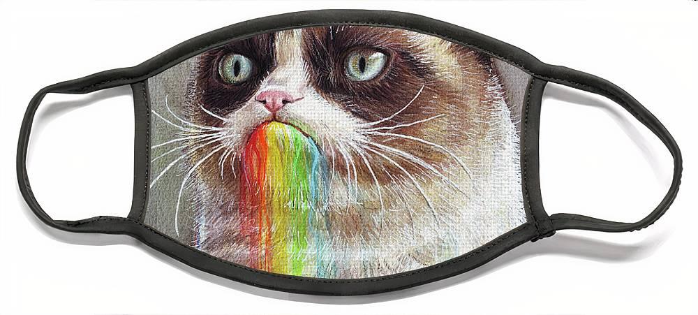 Grumpy Cat Face Mask featuring the painting Grumpy Cat Tastes the Rainbow by Olga Shvartsur