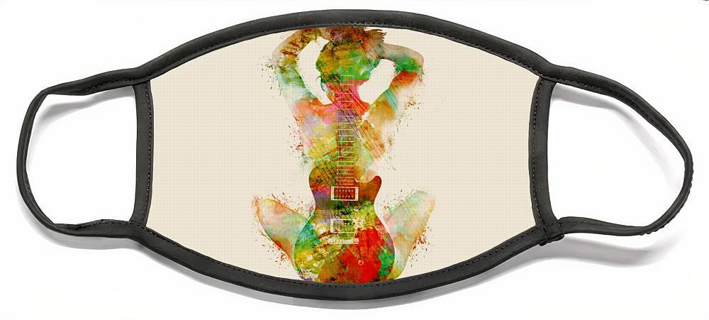 Guitar Face Mask featuring the digital art Guitar Siren by Nikki Smith