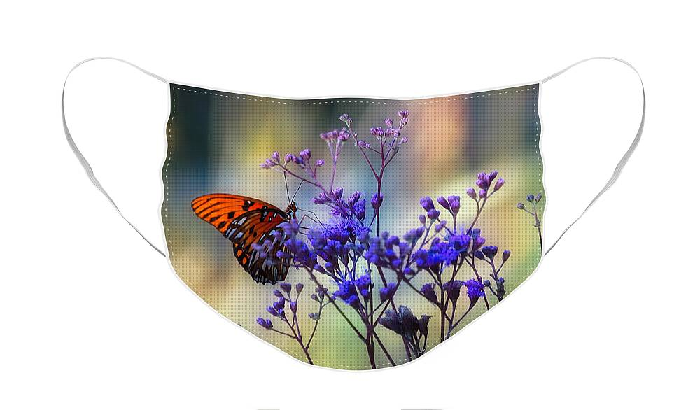 Butterfly Face Mask featuring the photograph Gulf Fritillary by Rich Leighton