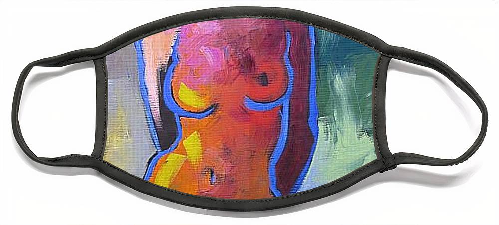 Original Face Mask featuring the painting Happy Birthday by Linda Monfort