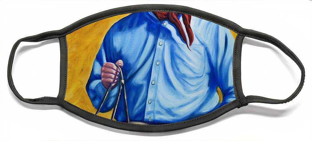 Cowboy Face Mask featuring the painting Happy Trails by Shannon Grissom