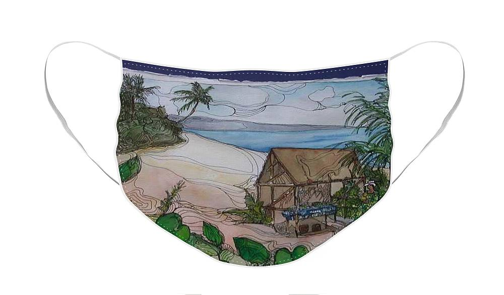 Hawaii Landscape Face Mask featuring the painting Hawaii by Michelle Gonzalez