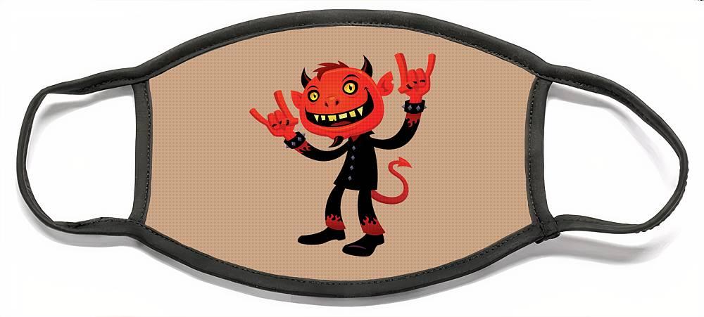 Heavy Metal Face Mask featuring the digital art Heavy Metal Devil by John Schwegel