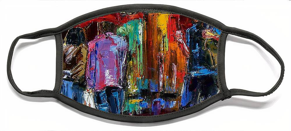 Street Scene Face Mask featuring the painting Heavy Rain by Debra Hurd