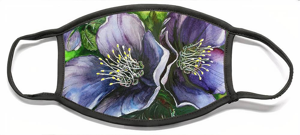 Flower Painting Botanical Painting Original W/c Painting Helleborous Painting Face Mask featuring the painting Helleborous Blue Lady by Karin Dawn Kelshall- Best