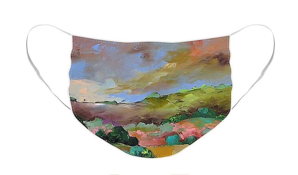 Original Face Mask featuring the painting Hello Spring by Linda Monfort