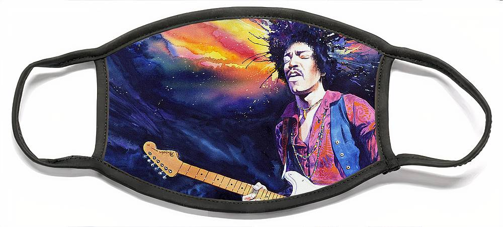 Jimi Hendrix Face Mask featuring the painting Hendrix by Ken Meyer jr