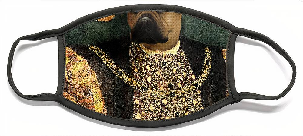 Mastiff Face Mask featuring the digital art Henry VIII as a Mastiff by Galen Hazelhofer