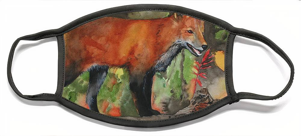 Fox Face Mask featuring the painting Hiding In Plain Sight by Jean Blackmer