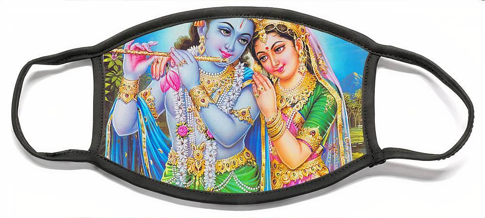India Face Mask featuring the drawing Hindu God Lord Radha Krishna by Magdalena Walulik