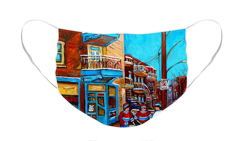 Hockey At Wilensky's Diner Montreal Face Mask featuring the painting Hockey At Wilensky's Diner Montreal by Carole Spandau