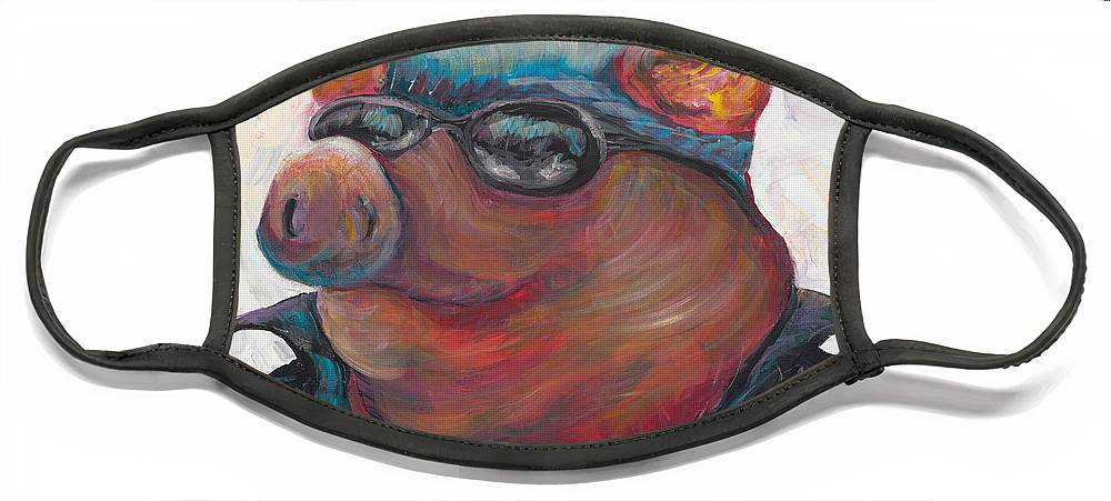 Hog Face Mask featuring the painting Hogley Davidson by Nadine Rippelmeyer
