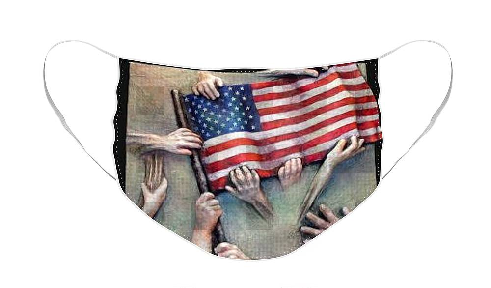 Sept. 11 Face Mask featuring the mixed media Holding On by Marti Nash