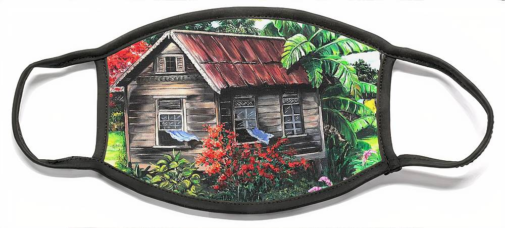 Caribbean House Face Mask featuring the painting Home Sweet Home by Karin Dawn Kelshall- Best