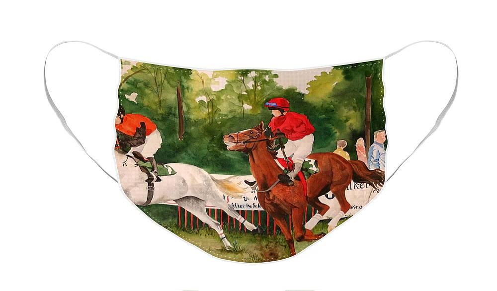 Racing Face Mask featuring the painting Homestretch by Jean Blackmer