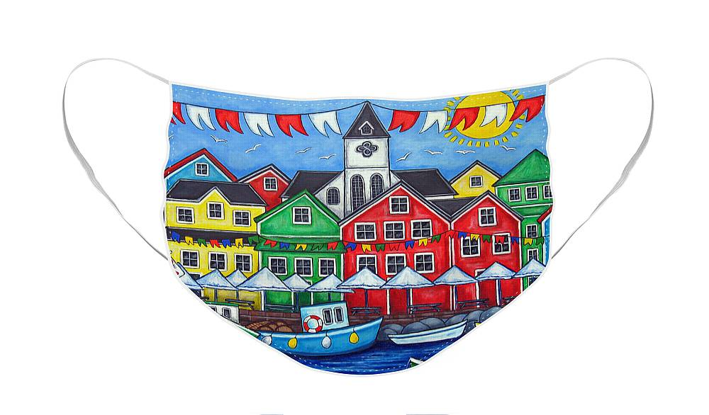 Boats Canada Colorful Docks Festival Fishing Flags Green Harbor Harbour Face Mask featuring the painting Hometown Festival by Lisa Lorenz