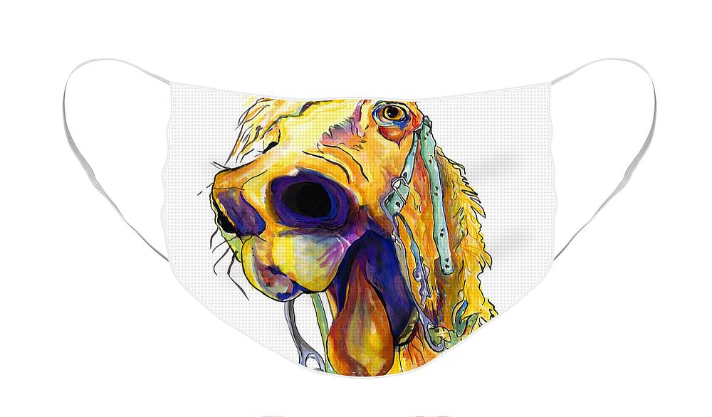 Animal Painting Face Mask featuring the mixed media Horsing Around by Pat Saunders-White