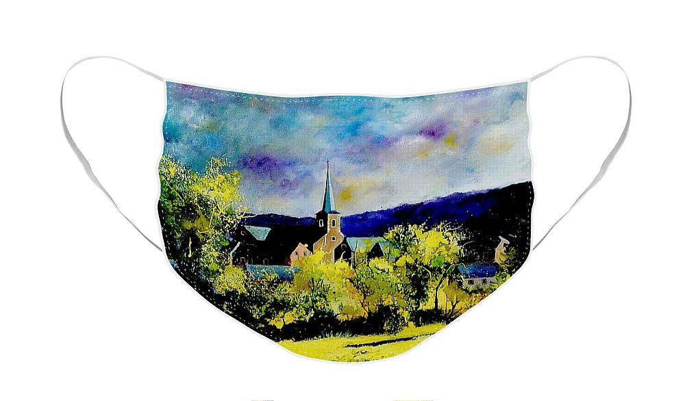 Poppies Face Mask featuring the painting Hour Village Belgium by Pol Ledent