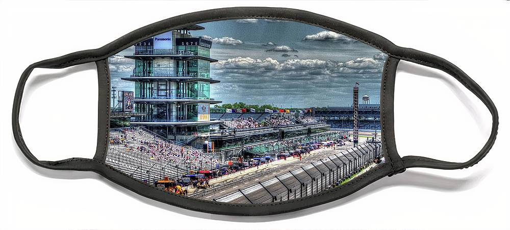 Indy 500 Face Mask featuring the photograph Hulman Suites by Josh Williams