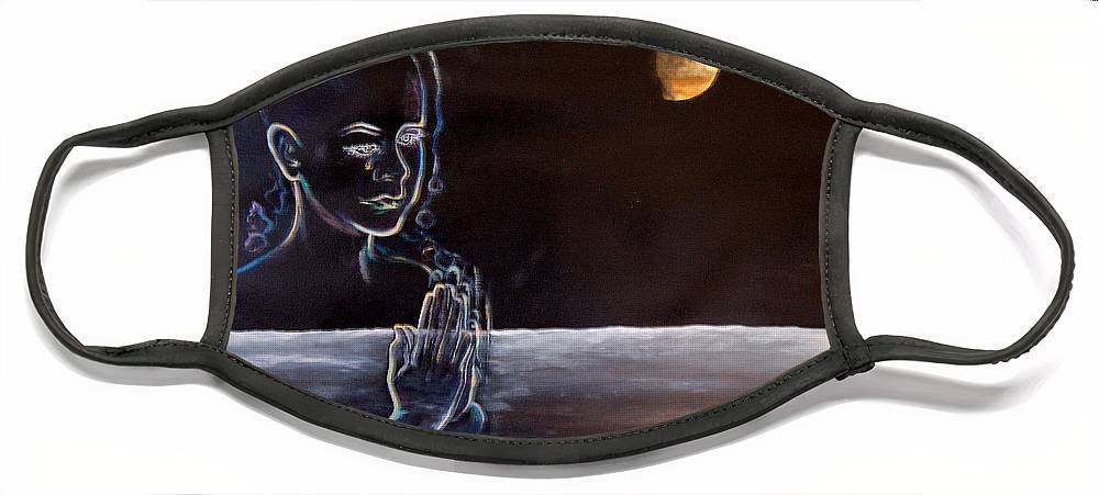 Moon Face Mask featuring the painting Human Spirit Moonscape by Susan Moore