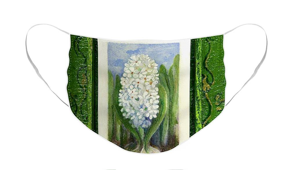 Elle Fagan Face Mask featuring the painting Hyacinth by Elle Smith Fagan