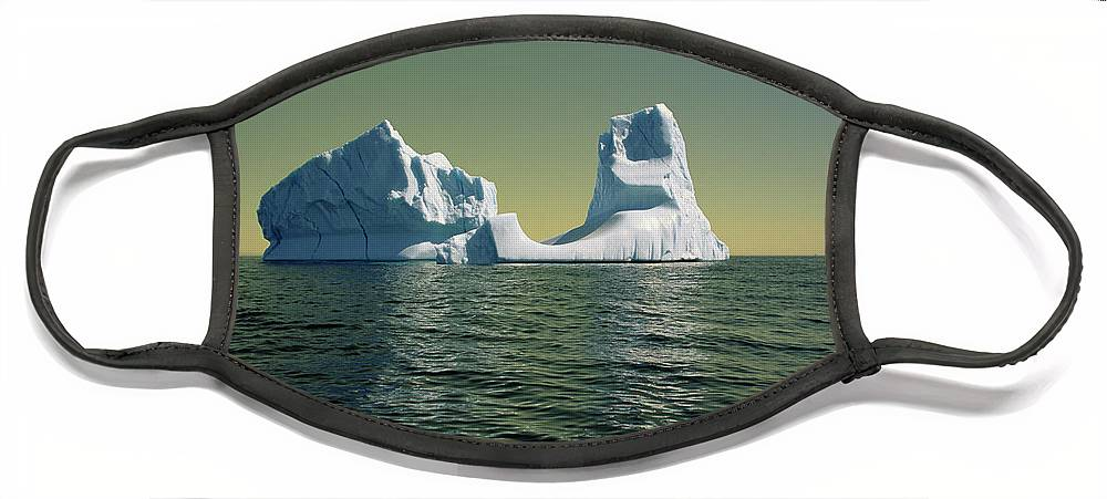 00342146 Face Mask featuring the photograph Iceberg in the Labrador Sea by Yva Momatiuk John Eastcott