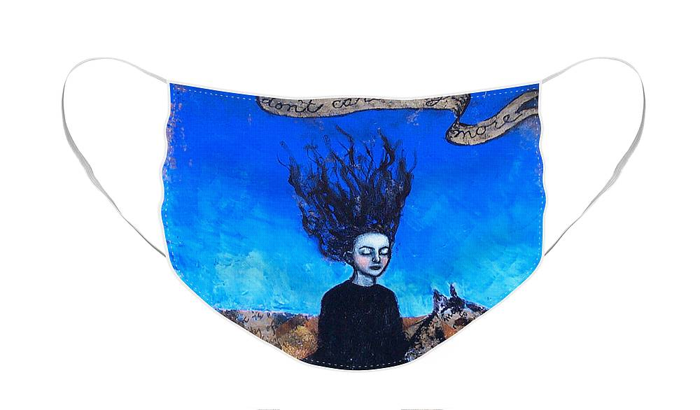Face Mask featuring the painting IDontCareAnymore by Pauline Lim