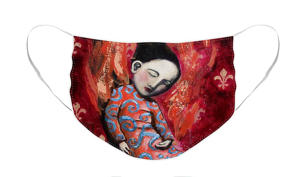 Funny Face Mask featuring the painting I'm So Hot by Pauline Lim