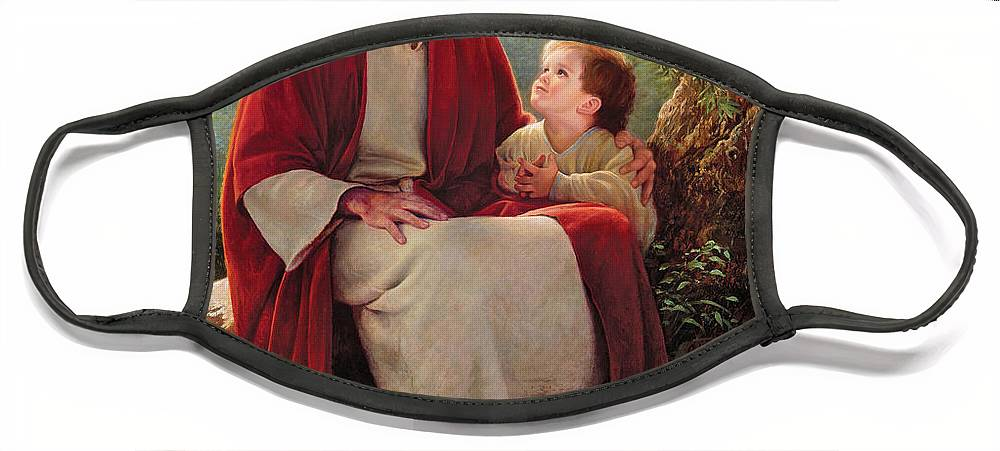 Jesus Face Mask featuring the painting In His Light by Greg Olsen