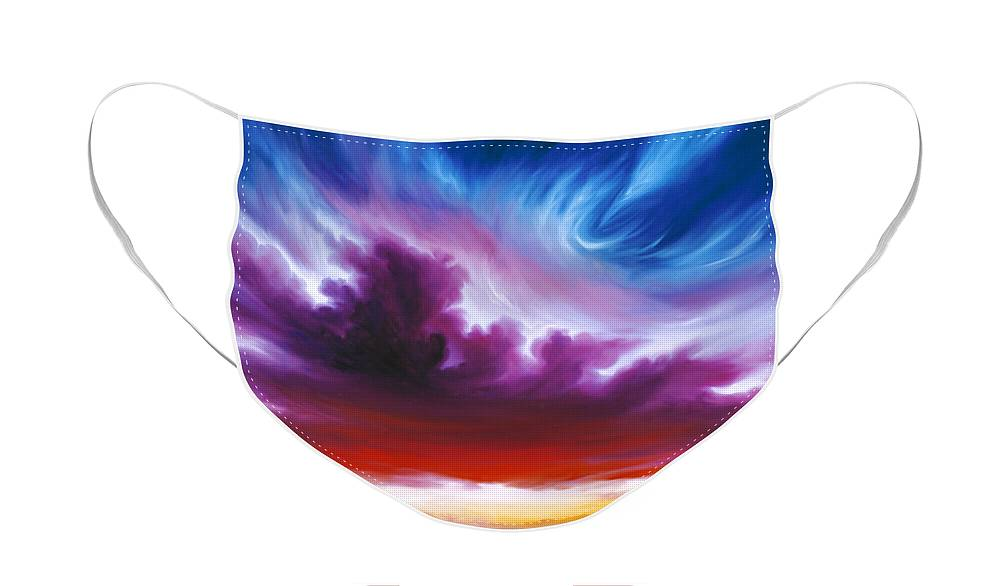 Sunrise; Sunset; Power; Glory; Cloudscape; Skyscape; Purple; Red; Blue; Stunning; Landscape; James C. Hill; James Christopher Hill; Jameshillgallery.com; Ocean; Lakes; Genesis; Creation; Quantom; Singularity Face Mask featuring the painting In the Beginning by James Christopher Hill