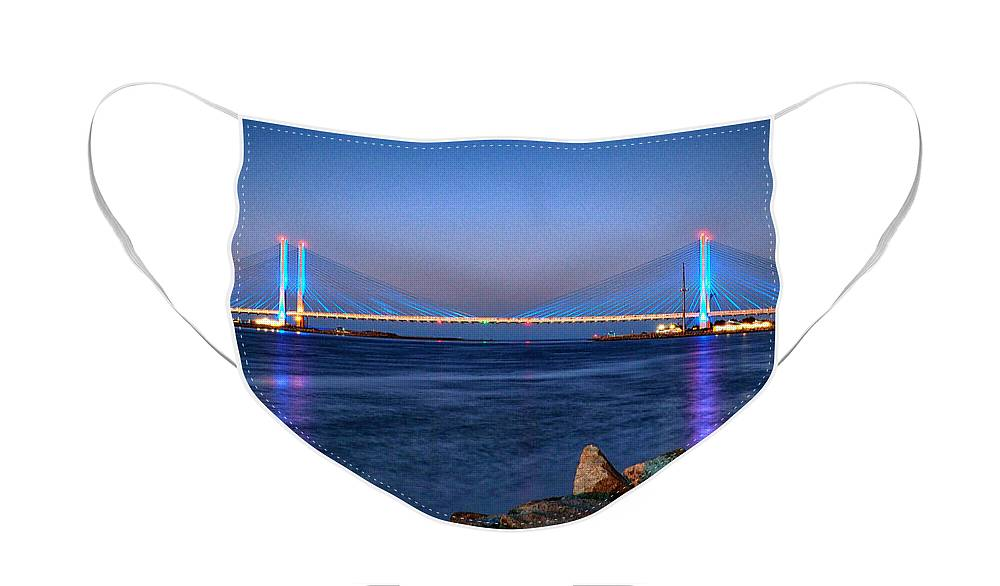 Indian River Inlet Face Mask featuring the photograph Indian River Inlet Bridge Twilight by Bill Swartwout