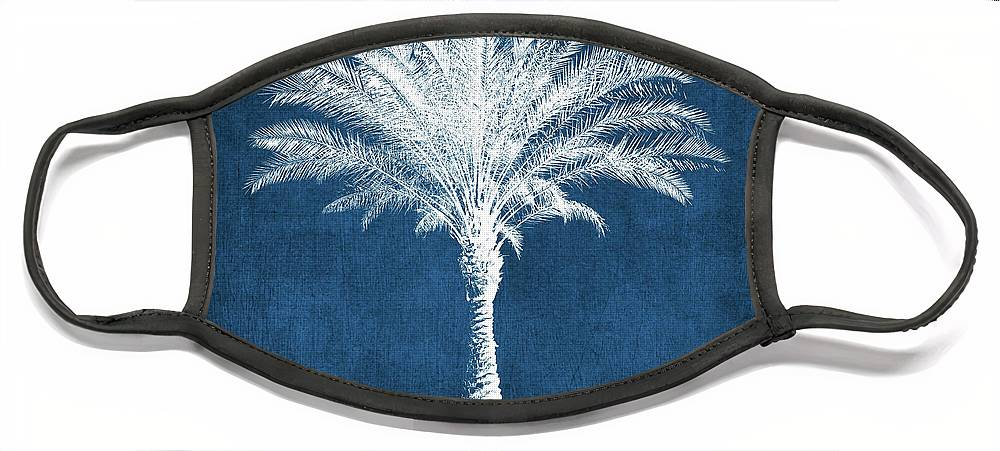 Palm Tree Face Mask featuring the mixed media Indigo and White Palm Tree- Art by Linda Woods by Linda Woods